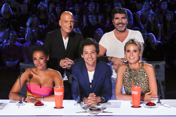 Pictured, top row: Howie Mandel and Simon Cowell; shown seated: Mel B., Louis Tomlinson and Heidi Klum. (NBC photo)