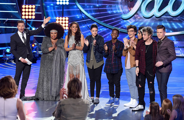 `American Idol`: From left: host Ryan Seacrest and the top eight contestants: La'Porsha Renae, Tristan McIntosh, Avalon Young, Lee Jean, MacKenzie Bourg, Sonika Vaid, Dalton Rapattoni and Trent Harmon. (© 2016 FOX photo by Ray Mickshaw)