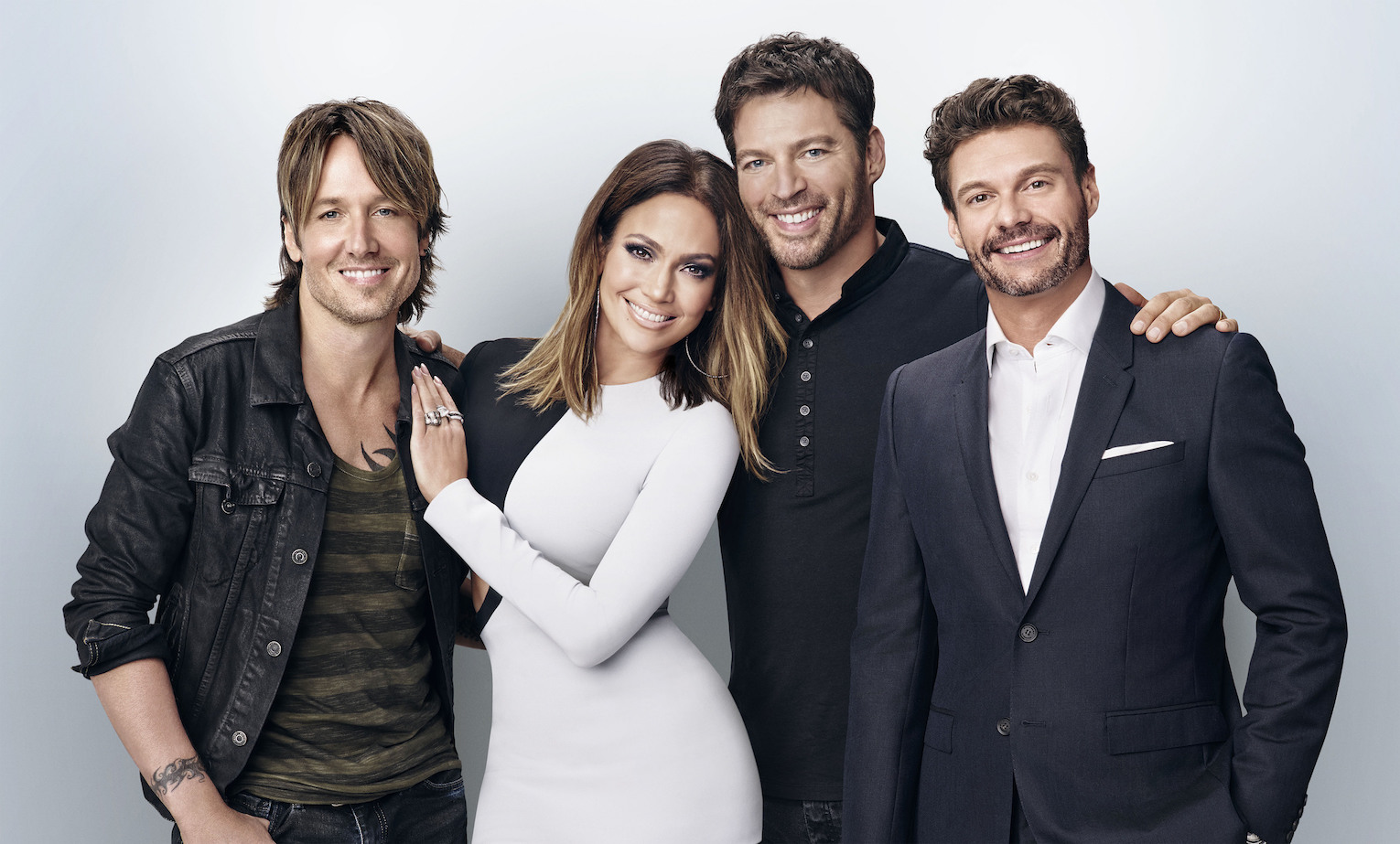 `American Idol`: From left: Keith Urban, Jennifer Lopez, Harry Connick Jr. and Ryan Seacrest. `American Idol` will begin its 15th - and farewell - season with a special two-night, four-hour premiere event Wednesday and Thursday on FOX. (Fox Broadcasting Co. photo by Michael Becker)