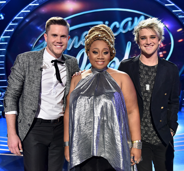 `American Idol`: The top 3 revealed: (from left) Trent Harmon, La'Porsha Renae and Dalton Rapattoni. (© FOX photo by Michael Becker)