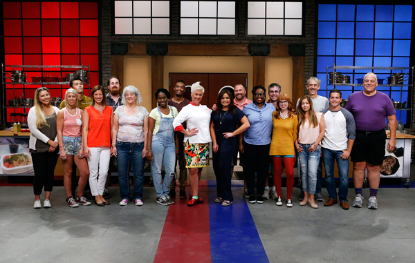 Mentors Anne Burrell and Rachael Ray with the contestants on Food Network's Worst Cooks in America.