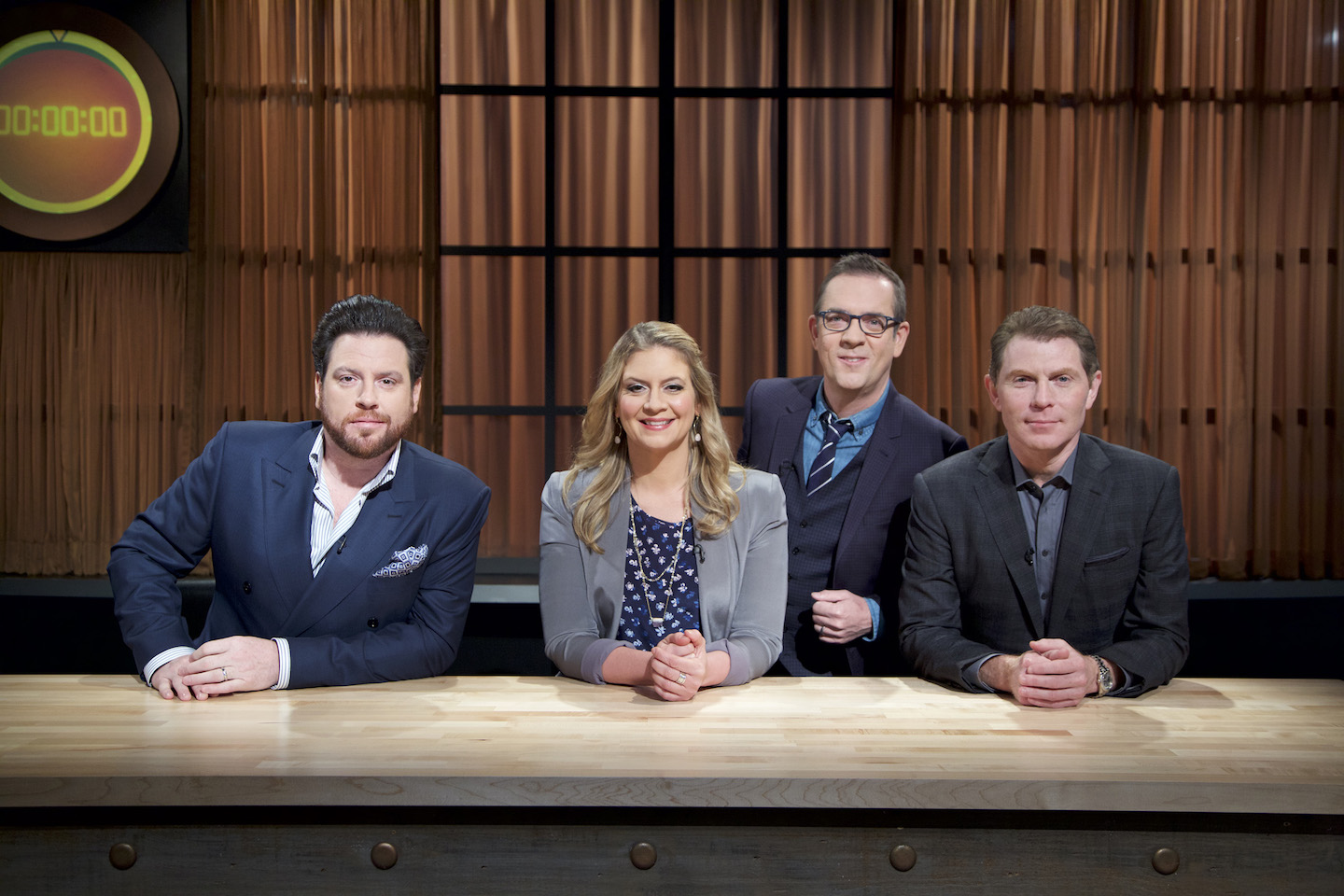 Stars Scott Conant, Amanda Freitag, Ted Allen and Bobby Flay on Food Network's `Chopped: Beat Bobby Flay.` (Food Network photo)