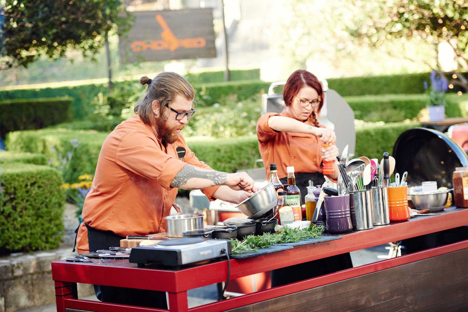 Competitors Jonathan Sawyer and Ashley Pado on Food Network's `Chopped Grill Masters Napa.`