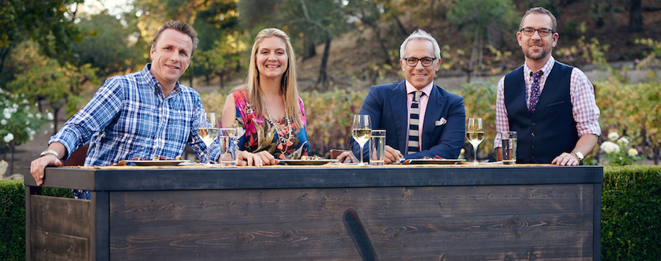 "Food Network's ""Chopped Grill Masters Napa"" host Ted Allen and judges Amanda Freitag, Marc Murphy and Geoffrey Zakarian."