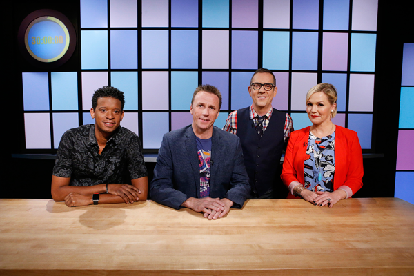 From left, judges Roble Ali, Marc Murphy and Jennie Garth pose with host Ted Allen as seen on Food Network's `Chopped Junior.`