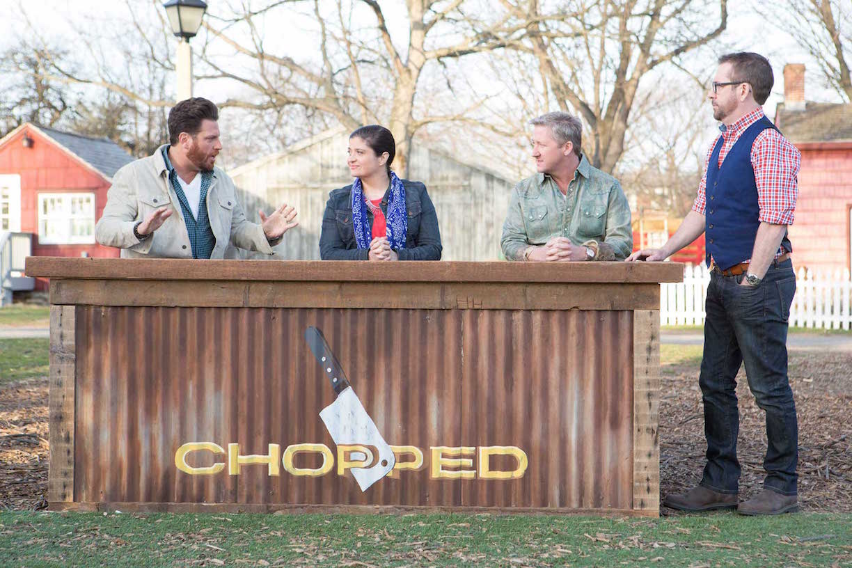 Food Network's Chopped Grill Masters: Host Ted Allen and Judges Scott Conant, Alex Guarnaschelli and Tim Love. (Food Network photo)