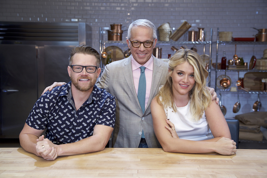 Judge Richard Blais, host Geoffrey Zakarian and judge Daphne Oz on Food Network's `Cooks vs. Cons.`