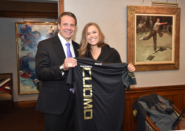Gov. Andrew Cuomo is pictured with Ronda Rousey. (Press photo)
