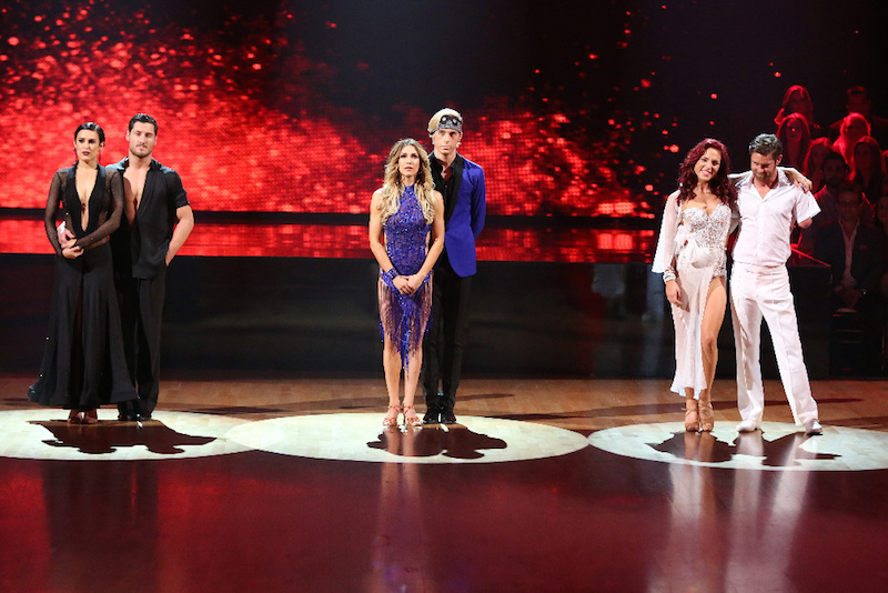`Dancing with the Stars`: The final three couples (from left): Rumer Willis and Val Chmerkovskiy, Allison Holker and Riker Lynch and Sharna Burgess and Noah Galloway. (ABC photo by Adam Taylor)