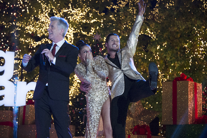 Laurie Hernandez and Valentin Chmerkovskiy celebrate winning `Dancing with the Stars.` (ABC photos by Eric McCandless)