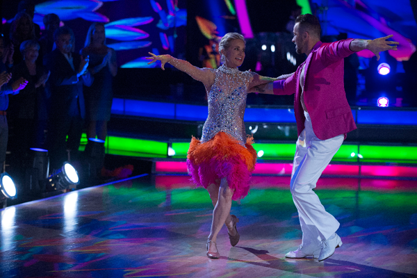 `Dancing with the Stars` - Maureen McCormick and Artem Chigvintsev perform on `Latin Night.` (ABC photo by Eric McCandless)