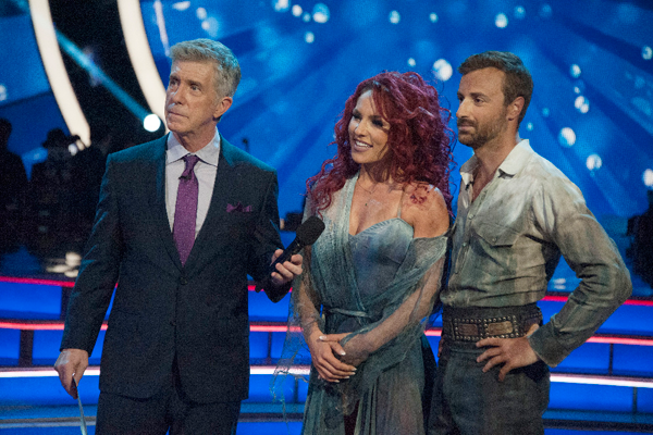 `Dancing with the Stars` host Tom Bergeron with James Hinchcliffe and Sharna Burgess. (ABC photo by Eric McCandless)