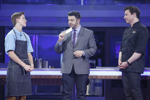 From left, Troy Glass, Adam Richman and Rocco DiSpirito. (NBC photo)