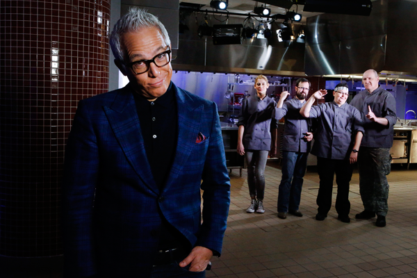 From left, host Geoffrey Zakarian poses with competitors Alessandra MacCarthy, Eric Grutka, Cindy Taffel and Michael Talalaev, as seen on Food Network's `Cooks vs. Cons.` (Food Network photos)