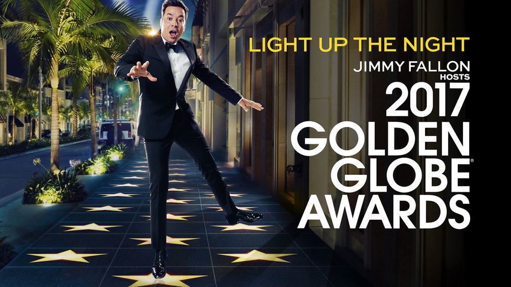 2017 Golden Globe Awards key art photo by NBCUniversal. The biggest film and TV stars will be honored Jan. 8 on NBC.