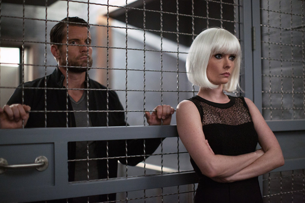`Grimm` episode `Eve of Destruction`: Pictured, from left, are Damien Puckler as Meisner and Bitsie Tulloch as Eve. (NBC photo by Scott Green)