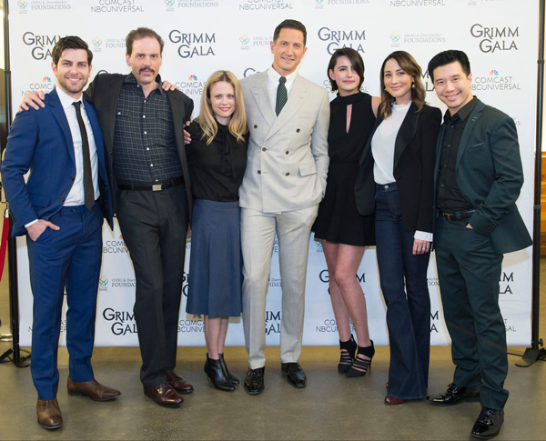 Pictured, from left, at the `Grimm Gala`: Reggie Lee, Claire Coffee, Jacqueline Toboni, Sasha Roiz, Silas Weir Mitchell, David Giuntoli and Bree Turner. (NBC photo by Allyson Riggs)