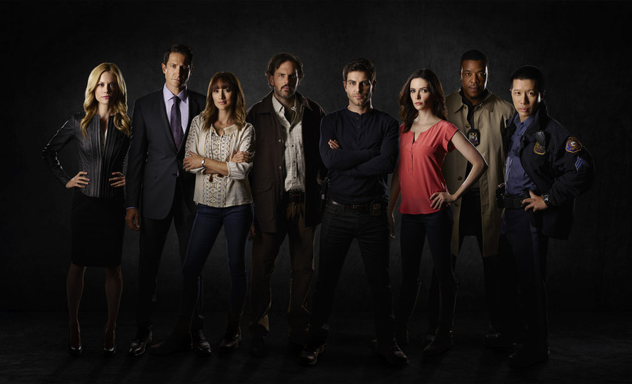 `Grimm` Pictured, from left, are Claire Coffee as Adalind Schade, Sasha Roiz as Capt. Sean Renard, Bree Turner as Rosalee Calvert, Silas Weir Mitchell as Monroe, David Giuntoli as Nick Burkhardt, Bitsie Tulloch as Juliette Silverton, Russell Hornsby as Hank Griffin and Reggie Lee as Sgt. Wu. (NBC photo by Chris Haston)