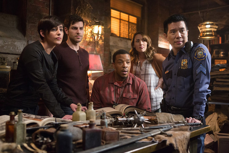 `Grimm`: Pictured, from left, are Jacqueline Toboni as Trubel, David Giuntoli as Nick Burkhardt, Russell Hornsby as Hank Griffin, Bree Turner as Rosalee Calvert and Reggie Lee as Sgt. Wu. (NBC photo by Scott Green)