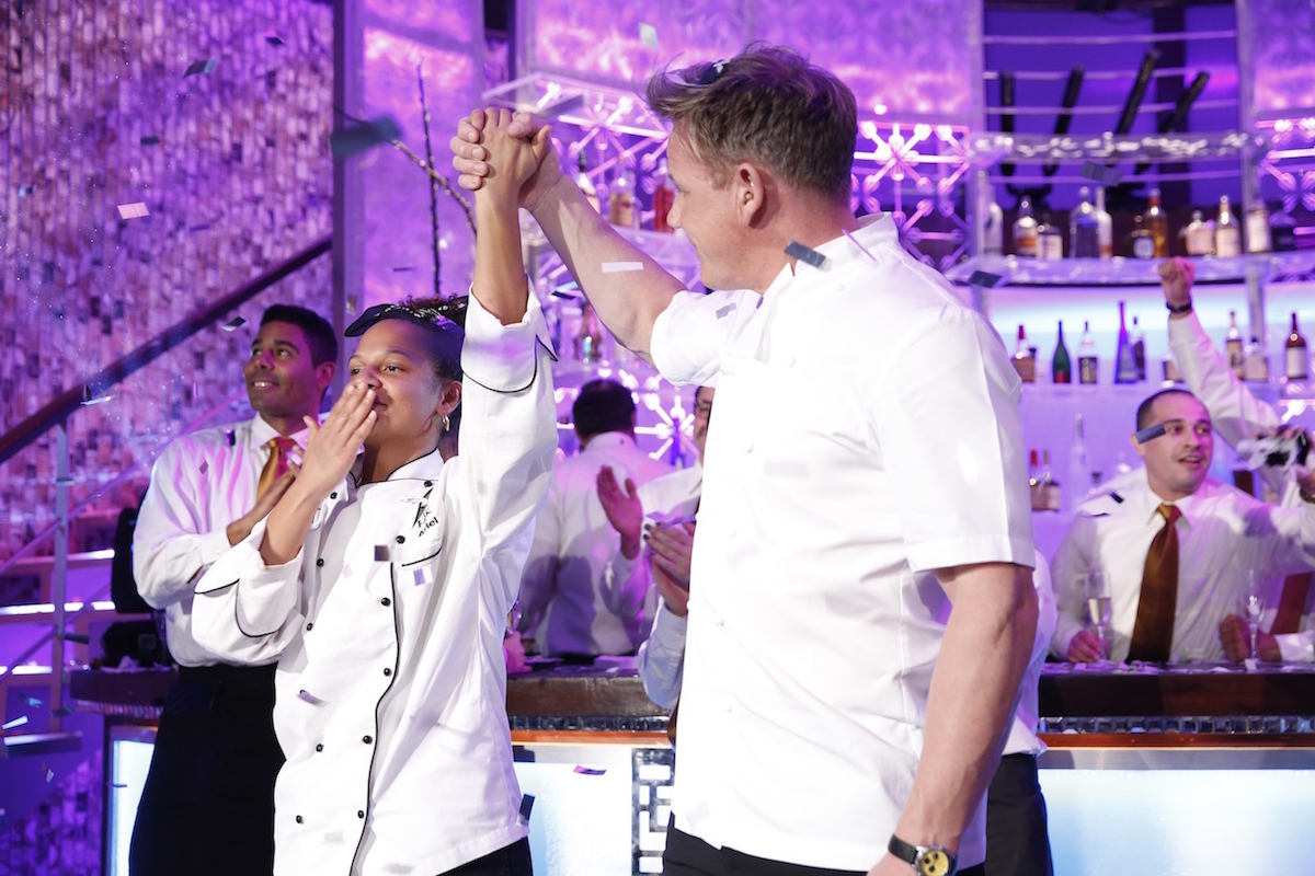 `Hell's Kitchen`: Ariel and chef Gordon Ramsay in the all-new `Winner Chosen` season finale episode airing Friday, April 29, on FOX. Ariel won the season 15 title. (FOX photo by Greg Gayne)
