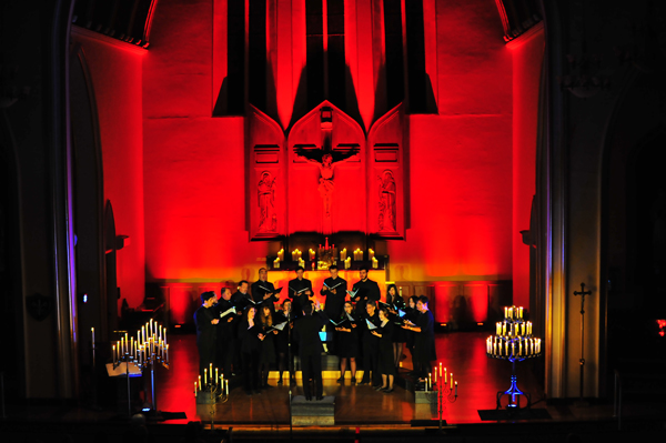 Shown is a scene from a past Harmonia Chamber Singers `Into Light` concert.