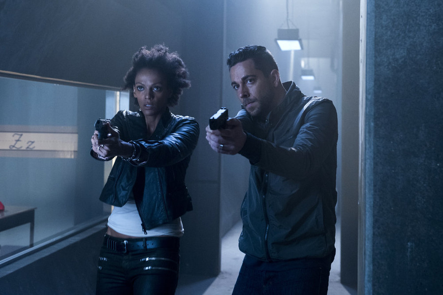 `Heroes Reborn` `Awakening` Episode 101: Pictured, from left, are Judi Shekoni as Joanne Collins and Zachary Levi as Luke Collins. (NBC photo by Christos Kalohoridis)