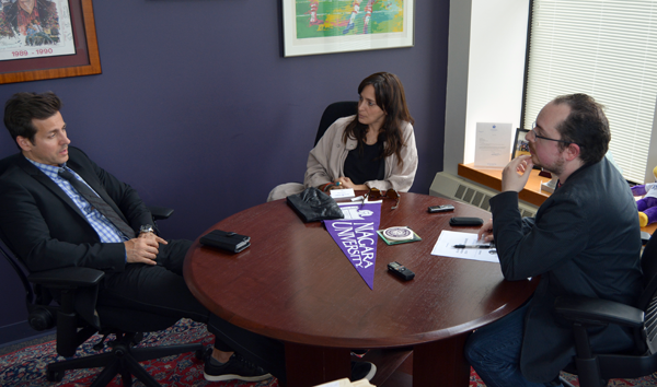 Joshua Maloni interviews Raine Maida and Chantal Kreviazuk at Niagara University.