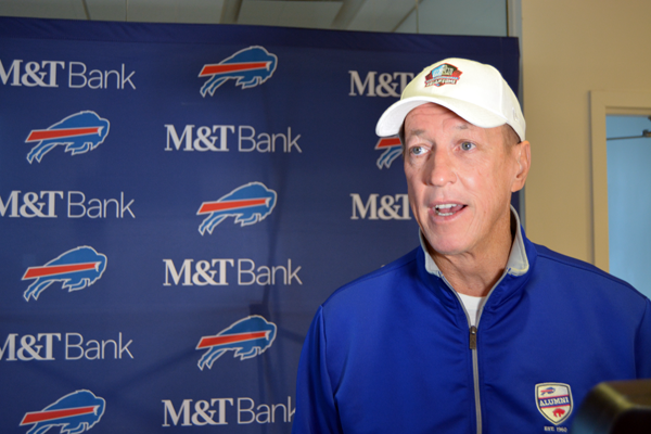 Jim Kelly speaks at an event to rally fans for the Buffalo Bills game this Sunday against the Miami Dolphins.
