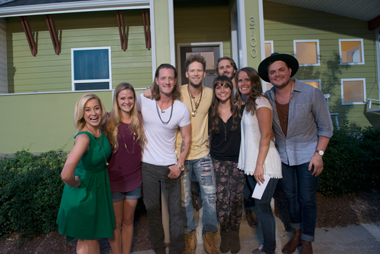 Kellie Pickler and Florida Georgia Line (left) surprise some deserving fans in Nashville on FOX's `Knock Knock Live.` The reality show airs Tuesdays at 9 p.m. on FOX. (Photos courtesy of the Fox Broadcasting Network)