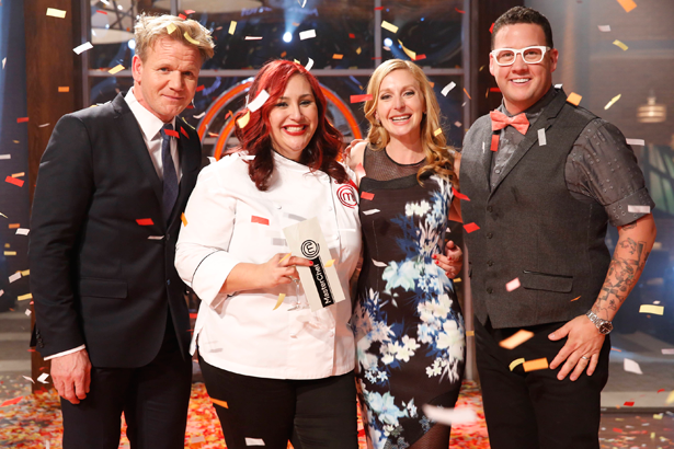 `MasterChef`: Claudia, second from left, won `MasterChef` Wednesday on FOX. She is pictured with, from left, chefs Gordon Ramsay, Christina Tosi and Graham Elliot. (FOX photo by Greg Gayne)