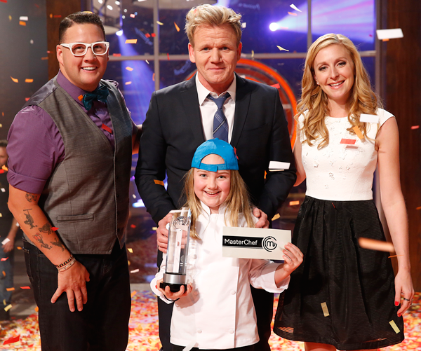 `MasterChef Junior`: Pictured, from left, are judge Graham Elliot, judge/host Gordon Ramsay, winner Addison and judge Christina Tosi in the `Junior Edition: The Finale` season finale episode on FOX. (Photo by Greg Gayne/FOX)