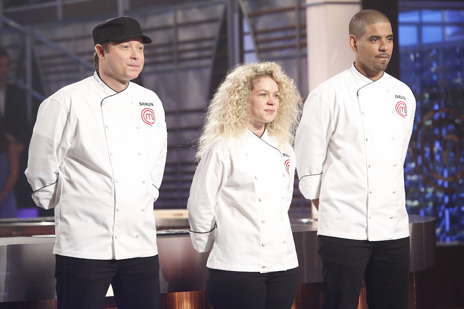 `MasterChef`: From left, are contestants Shaun, Brandi and David in the season finale episode airing Wednesday on FOX. (Photo by Greg Gayne/FOX)