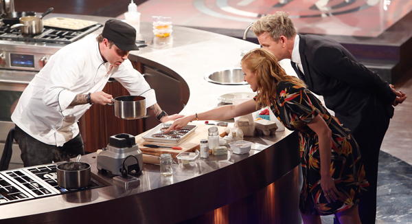 `MasterChef`: Shaun O'Neale cooks as judges Christina Tosi and Gordon Ramsay look on. The three of them will take part in the upcoming `MasterChef Celebrity Showdown.` (FOX photo by Greg Gayne)