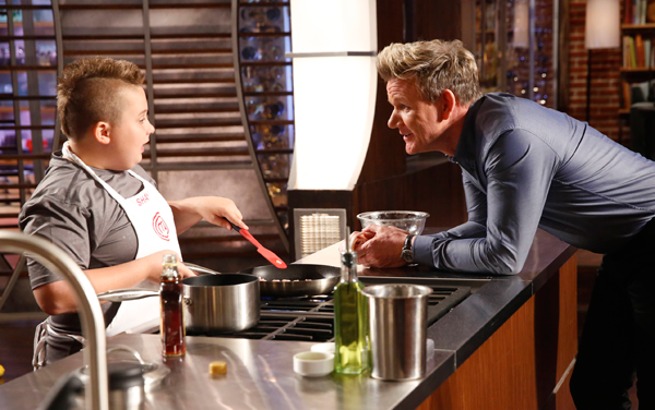 `MasterChef: Junior Edition`: Contestant Shayne and host / judge Gordon Ramsay in the all-new `Junior Edition: Scouts Honor` episode airing Thursday, April 6 (8-9:01 PM ET/PT), on FOX. (FOX photo by Greg Gayne)