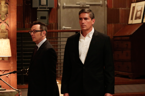 Michael Emerson as Harold Finch and Jim Caviezel as Mr. Reese on `Person of Interest.` (CBS photo)