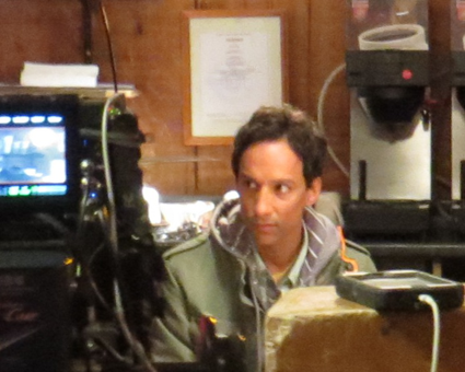Danny Pudi on set at Apple Granny.