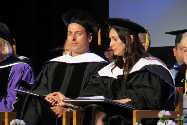 Raine Maida and Chantal Kreviazuk at Niagara University's graduate commencement Thursday.