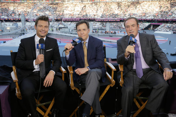Pictured, from left: Ryan Seacrest, Bob Costas and Al Michaels. (NBC photo)