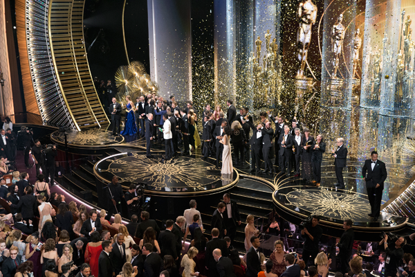 The cast and crew of `Spotlight` after winning the Oscar for Best Motion Picture. (ABC photo by Adam Taylor)