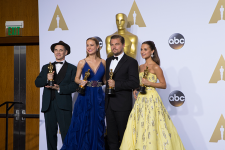 The Oscars - pressroom: Academy Award winners, from left: Mark Rylance, Brie Larson, Leonardo DiCaprio and Alicia Vikander. The 88th Oscars, held Sunday, Feb. 28, at the Dolby Theatre at Hollywood & Highland Center in Hollywood, was televised live by the ABC Television Network. (ABC photo by Rick Rowell)