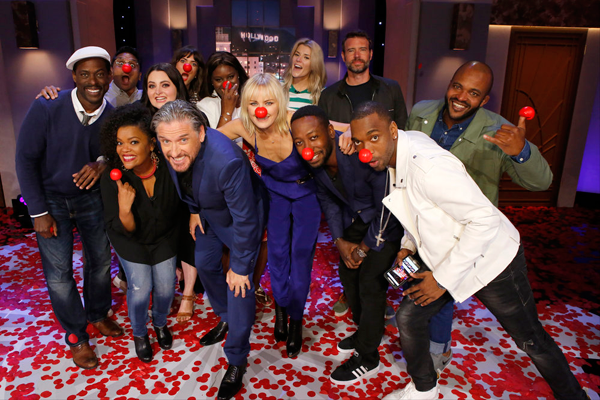 `The Red Nose Day Special` Pictured, from left, supporting the cause: Sterling K. Brown, Ravi Patel, Yvette Nicole Brown, Lauren Ash, Craig Ferguson, Mandy Moore, Retta, Malin Akerman, Grace Helbig, Lamorne Morris, Scott Foley, Jay Pharaoh and Sal Masekela. (NBC photo by Trae Patton)