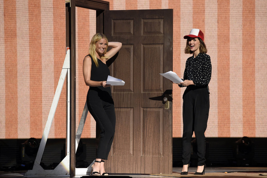 `Red Nose Day`: Pictured, from left: Gwyneth Paltrow and Rose Byrne onstage at NBC's `Red Nose Day` charity event at the Hammerstein Ballroom in New York. (NBC photo by David Giesbrecht)