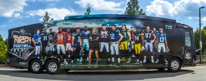 "The ""Sunday Night Football"" bus. (NBC photo)"