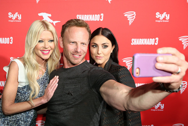 Comic-Con International: San Diego/`Sharknado 3 Party` - Pictured, from left: Tara Reid, Ian Ziering and Cassie Scerbo. (Syfy photo by Evans Vestal Ward)