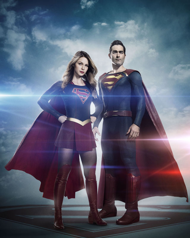 Pictured, from left: Melissa Benoist as Supergirl and Tyler Hoechlin as Superman on