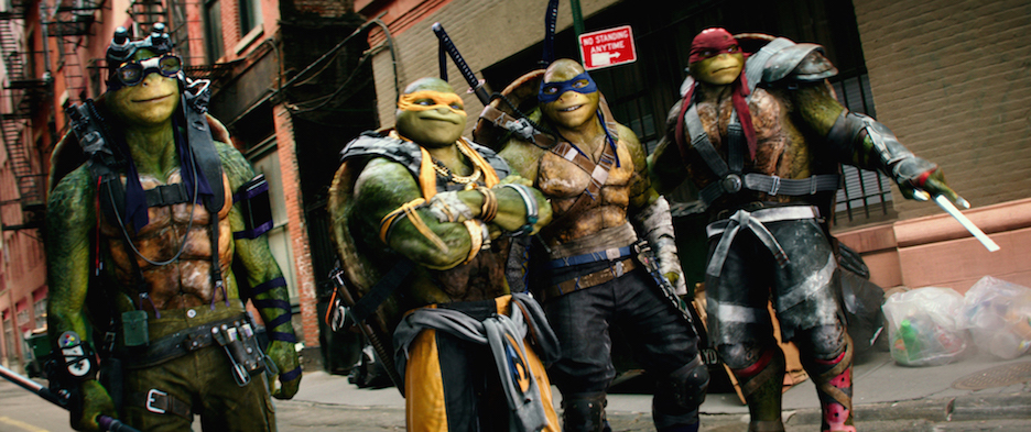 Left to right: Donatello, Michelangelo, Leonardo and Raphael in `Teenage Mutant Ninja Turtles: Out of the Shadows` from Paramount Pictures, Nickelodeon Movies and Platinum Dunes. (Photo credit: Lula Carvalho © 2015 PARAMOUNT PICTURES. ALL RIGHTS RESERVED.)