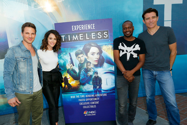 Pictured, from left, at the 2016 Comic-Con International in San Diego, are Matt Lanter, Abigail Spencer, Malcolm Barrett and Goran Visnjic. They're posed at the `Timeless` NBC Activation at Tin Fish. (NBC photo by Mark Davis)