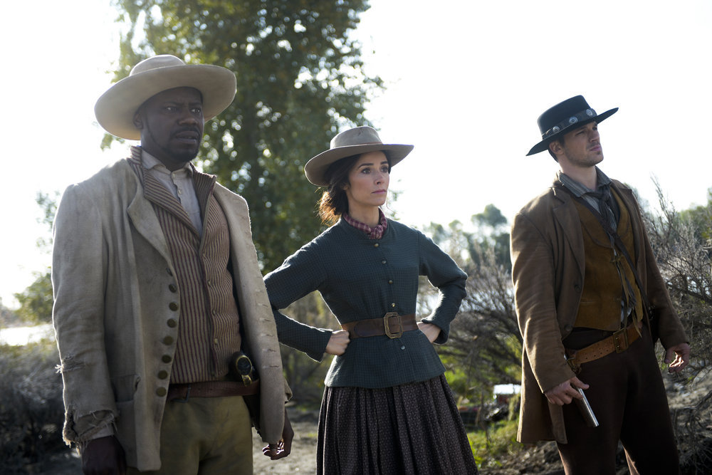 `Timeless` -- `The Alamo`: Pictured, from left, are Malcolm Barrett as Rufus Carlin, Abigail Spencer as Lucy Preston, and Matt Lanter as Wyatt Logan. (NBC photo by Sergei Bachlakov)