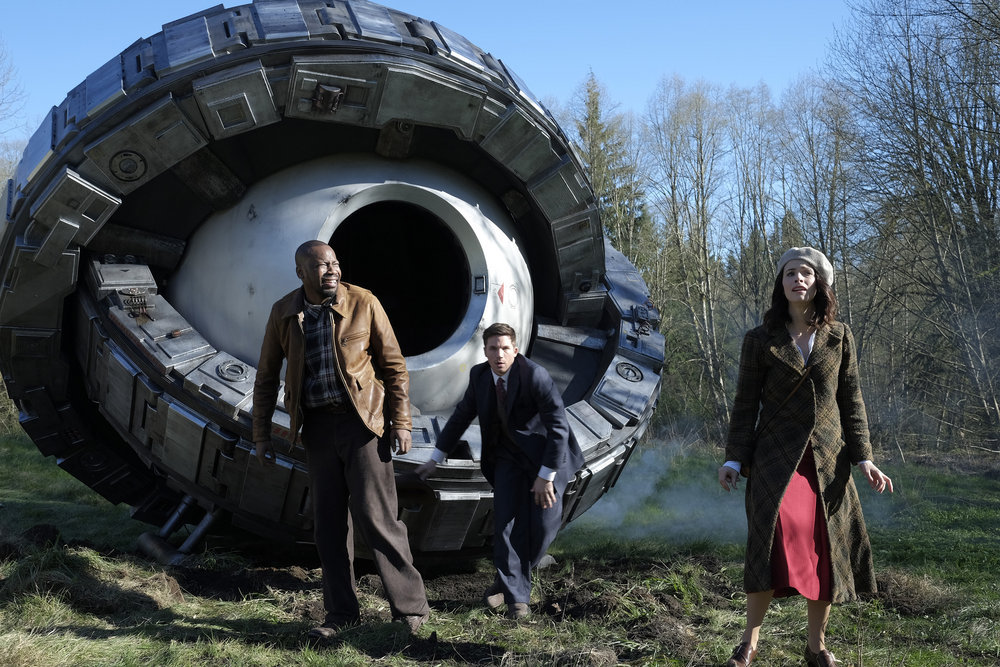 `Timeless`: `Pilot` - Pictured, from left: Malcolm Barrett as Rufus Carlin, Matt Lanter as Wyatt Logan and Abigail Spencer as Lucy Preston. (NBC photo by Joe Lederer)