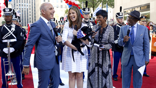 `Today`: Matt Lauer, Savannah Guthrie, Tamron Hall and Al Roker with the new puppy in training. (NBCUniversal photos by Morgan Pitt)
